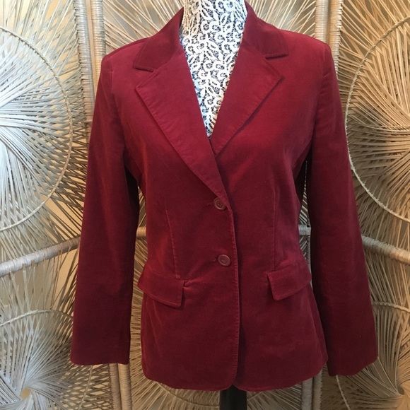 CAbi Maroon Floral Embroidered Blazer Size 8